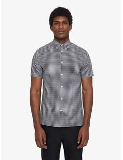 Daniel Houndstooth Cotton Poplin Shirt White