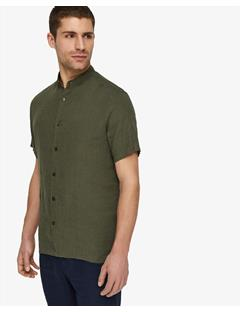 Daniel Linen Melange Short-Sleeve Shirt Beetle