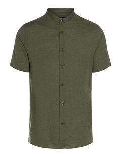 Mens Daniel Linen Melange Short-Sleeve Shirt Beetle