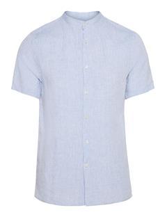 Mens Daniel Linen Melange Short-Sleeve Shirt Lt Blue Melange