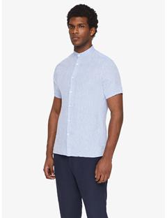 Daniel Linen Melange Short-Sleeve Shirt Lt Blue Melange