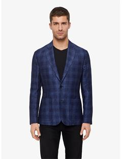 Mens Hopper Jacquard Check Blazer Mid Blue