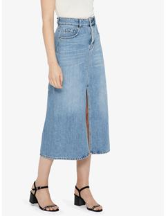 Womens Conei Sharp Denim Skirt Light Blue