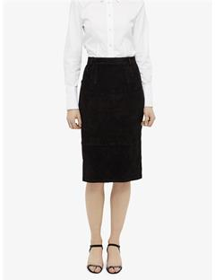Womens Dixon Stretch Suede Pencil Skirt JL Navy