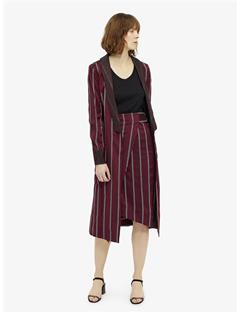 Womens Matador 3D Stripe Belted Wrap Skirt Burgundy