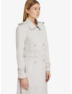 Womens Alphine Light Suede Trench Coat Pale Grey