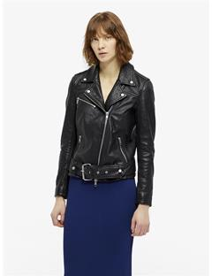 Colton Patched Leather Jacket Black