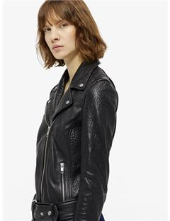 Womens Colton Patched Leather Jacket Black
