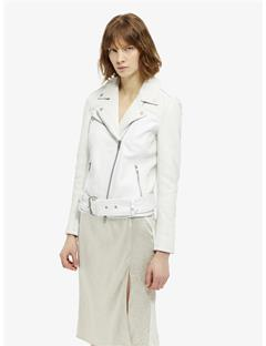 Womens Colton Patched Leather Jacket White