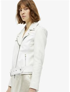 Colton Patched Leather Jacket White