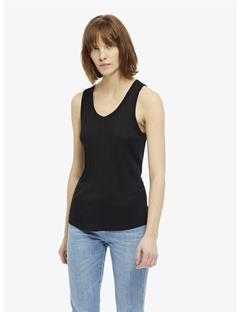 Womens Ceres Silky Ribbed Tank Top Black