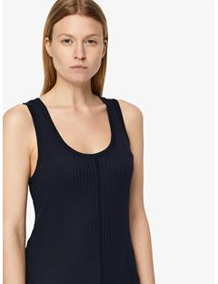 Womens Ceres Silky Ribbed Tank Top JL Navy