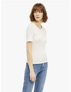 Lyn Silky Ribbed T-shirt Off White