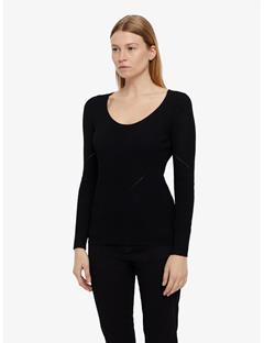 Womens Naeba Drapy Ribbed Top Black