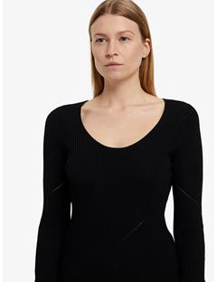 Naeba Drapy Ribbed Top Black