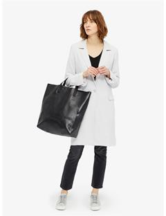 Raw Leather Tote Black