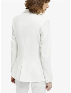 Carson Tailored Wool Tuxedo Jacket White