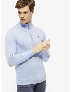 Kian Logo Print Tour Merino Half Zip Sweater Gentle blue