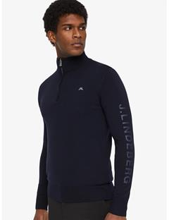 Kian Logo Print Tour Merino Half Zip Sweater JL Navy
