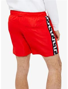 Banks Solid Stripe Swim Trunks Racing Red