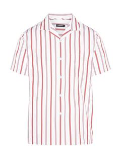 Mens David Pop Stripe Shirt Racing Red