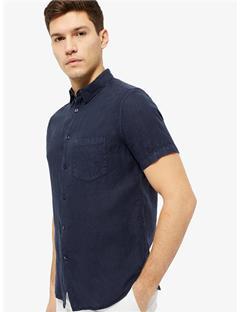Daniel Clean Linen Short Sleeve Shirt JL Navy