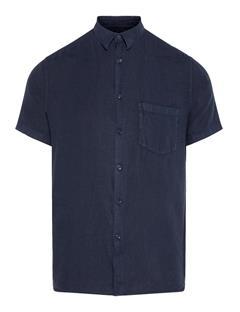 Mens Daniel Clean Linen Short Sleeve Shirt JL Navy