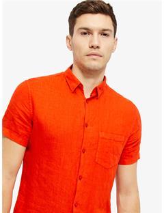 Daniel Clean Linen Short Sleeve Shirt Racing Red