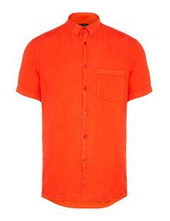 Mens Daniel Clean Linen Short Sleeve Shirt Racing Red