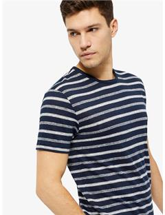 Coma Clean Striped Linen T-shirt JL Navy