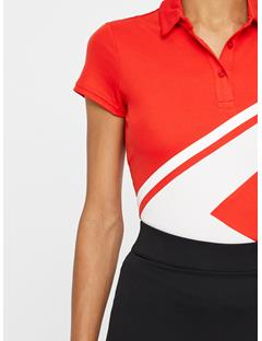 Womens Riya Lux Pique Polo Racing Red