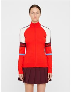Sanne Knit Zip-Up Racing Red