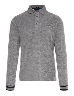 Mens Olle TX Peached Polo - Slim Fit Dk Grey Melange
