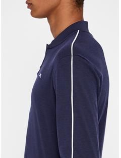 Mens Brayden Cotton Poly Polo - Slim Fit Navy Melange