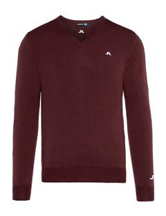 Mens Newman V-Neck Tour Merino Sweater Dark Mahogany