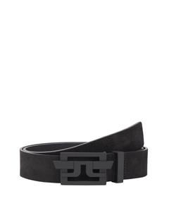 Mens New Wing Brushed Leather Belt Black