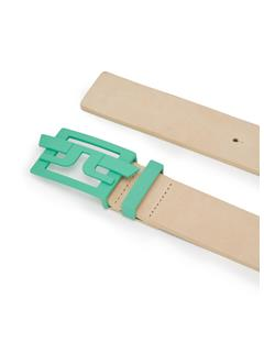 Mens New Wing Brushed Leather Belt Fresh Green