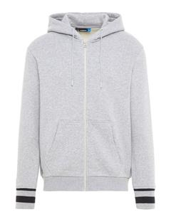 Mens Cyrus French Terry Zip Up Hoodie Stone Grey Melange