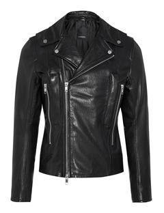 Mens Lense Summer Leather Jacket Black