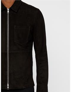 Jonah Zip Flat Suede Overshirt Black