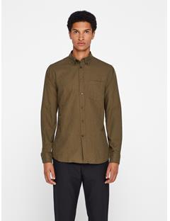 Mens Daniel Flannel Twill Shirt Dark Olive
