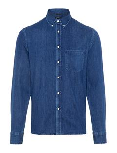 Mens Daniel Stretch Denim Shirt Dark Blue