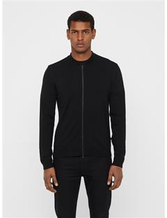 Mens Lyam Merino Sweater Bomber Black