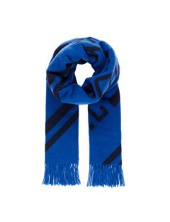 Mens Frame Jacquard Wool Scarf Pop Blue