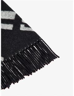 Mens Frame Jacquard Wool Scarf White