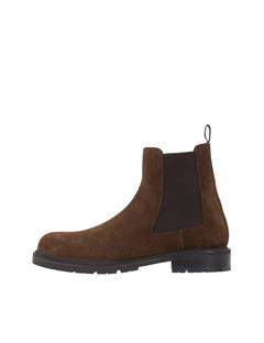 Mens Suede Chelsea Boots DK Brown