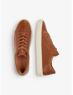 Mens Leather Grained Sneakers Bison