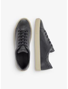 Mens Leather Grained Sneakers Black