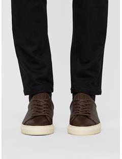 Mens Leather Grained Sneakers DK Brown