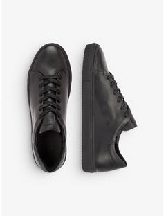 Mens Leather Block Sneakers Black